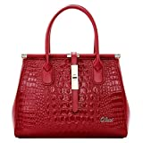 Cluci Women's Crocodile Grain Leather Designer Handbags Purse Tote Cross-body Bags Wine Red