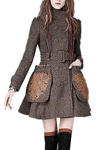 Tengfu Women Vintage Double Breasted Woolen Tweed Brown B...