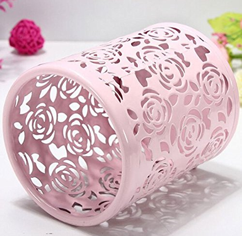 Leegoal(TM) Hollow Rose Flower Metal Pen Pencil Cup Holder Desk Organizer (Pink) Photo #2