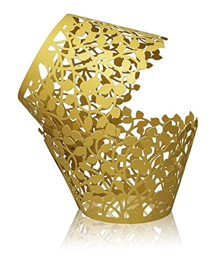 CUPCAKE WRAPPERS - Gold Shimmering - 50 pack Decorative Vine Lace Liner Wrapper by Ultimate Hostess - Versatile (Cupcake Liners Cheetah)