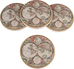 """Set of 4, 4"""" Diameter Ceramic Old World Map Design Coasters by Trademark Innovations (Red)"""