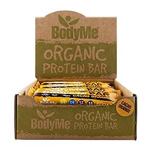 BodyMe Organic Vegan Protein Bar | Raw Cacao Orange | 12 x 60g Vegan Protein Snack Bars | Gluten Free | 16g Complete Protein | 3 Plant Proteins All Essential Amino Acids | High Protein Vegan Snacks