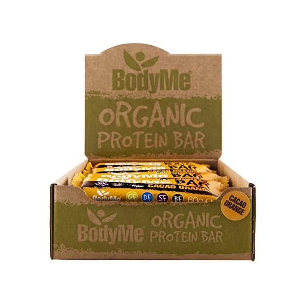BodyMe Organic Vegan Protein Bar | Raw Cacao Orange | 12 x 60g Vegan Protein Snack Bars | Gluten Free | 16g Complete Protein | 3 Plant Proteins All Essential Amino Acids | High Protein Vegan Snacks
