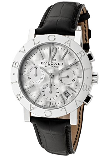 Men's Bulgari Bulgari Mechanical/Automatic Chronograph Off White Dial Black Crocodile