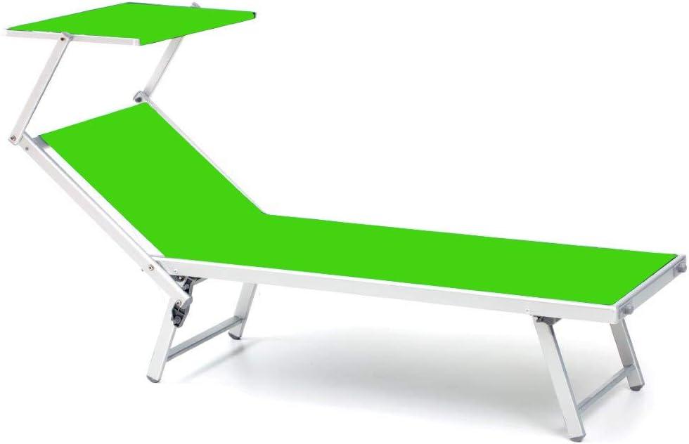 Verde Tot/ò Piccinni Salento Lettino Prendisole Pieghevole in Alluminio con TETTUCCIO Mare Spiaggia Piscina Giardino