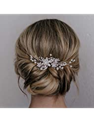 49e238a6f SWEETV Bridal Hair Comb Clip Pin Rhinestone Pearl Wedding Hair Accessories  for Bride Bridesmaid, Silver. See Color Options