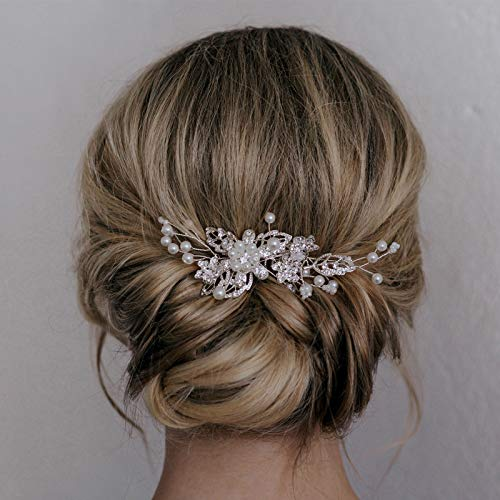SWEETV Bridal Hair Comb Clip Pin Rhinestone Pearl Wedding Hair Accessories for Bride Bridesmaid, -