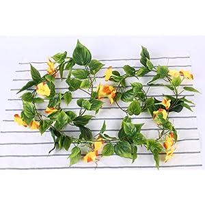 Yatim 2PCS(13FT) Artificial Flowers Ivy Vines Leaf Garland Plants for Hotel Wedding Arch Home Party Garden Craft Art Decor Sunred 3