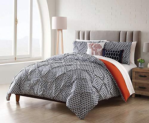 (Kaputar 9 Piece Taraz Navy/w/Cotton Sheets Comforter Set | Model CMFRTRSTS - 5717 | King)
