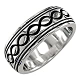 Mens or Womens Wide Infinity Wedding Ring with Black, 8.5mm in Sterling Silver - size 5