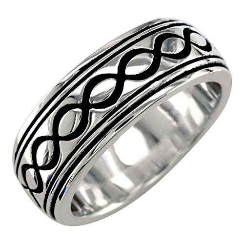 Mens or Womens Wide Infinity Wedding Ring with Black, 8.5mm in Sterling Silver - size 8.5 by Sziro Infinity Wedding Bands