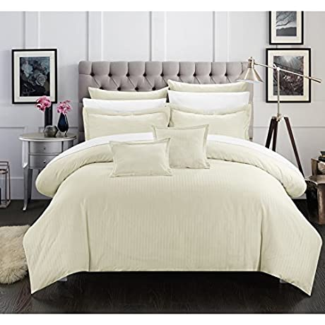 Chic Home 7 Piece Keynes Down Alt Jacquard Beige Striped Comforter Set 5 Piece Twin