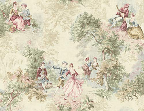 Wallpaper Designer French Toile Faux Tapestry Green Blue Red Pink on Cream ()