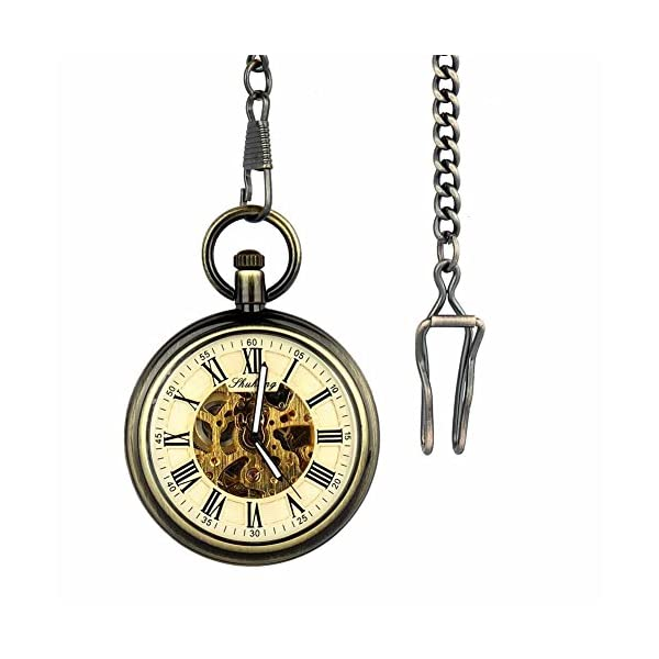 Retro Pocket Watch for Mens Wooden Open face Steampunk Skeleton Mechanical with Chain + Box 4