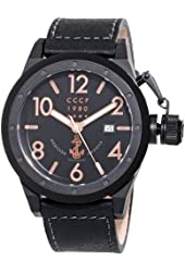 CCCP Men's CP-7017-03 Delta Analog Display Japanese Automatic Black Watch