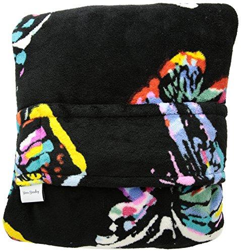 Vera Bradley Travel Blanket, Fleece, butterfly flutter black College Fleece Collection Throw Blanket