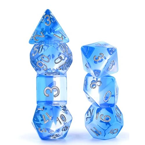 New 7 Piece Polyhedral Translucent Blue Gradient Dice Set With Dice Bag D/&D RPG