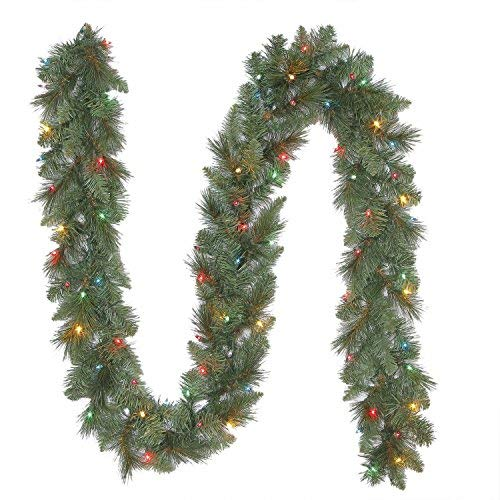 North Pole Originals 15' Long Pre-Lit, Multi-Color Lighted Christmas Garland - 500 Tips, 150 T5 LED Lights - UL Rated for Indoor or Outdoor use (Multi Color)