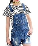 Luodemiss Big Girl's Light Blue Denim Jumpsuit Boyfriend Jeans Denim Romper Shortalls 10/Light Blue