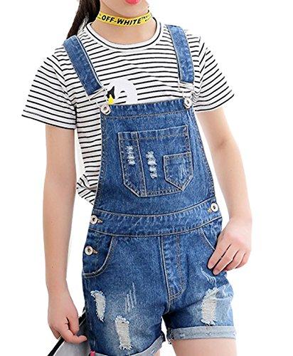 Luodemiss Big Girl's Light Blue Denim Jumpsuit Boyfriend Jeans Denim Romper Shortalls 14/Light Blue