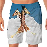 Haixia Mens Quick Dry Boardshorts Animal Decor Romantic Couple Giraffes On Clou