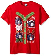 Hasbro Men's Transformers Button up Ugly Christmas T-Shirt