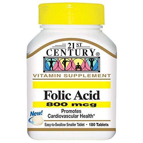 21st Century, Folic Acid, 800 mcg, 180 Tablets (Acid 180 Tabs)