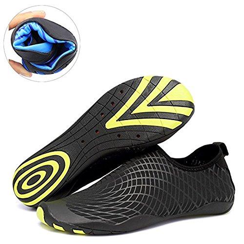 DEMANGO Yoga Schuhe Barfuß Quick-Dry Wassersport Aqua Schuhe Schwimmen Walking Lake Beach D-schwarz