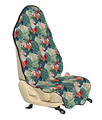Ambesonne Leaf Car Seat Hoody, Summer Beach Holiday Themed Hibiscus Plumeria Crepe Ginger Flowers, Car and Truck Seat Cover Protector with Nonslip Backing Universal Fit, Pink Red Green and Dark Green