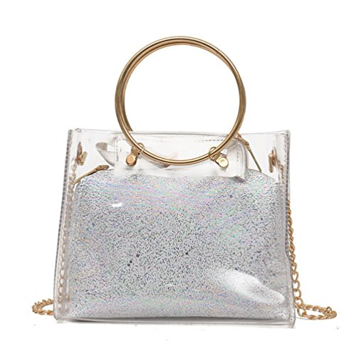 with Silver Interior Crossbody Pocket Transparent Bag Shoulder ViewHuge PVC Chain Handbag Egqwnv1