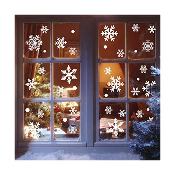 216 Vetrofanie Fiocchi di Neve per Natale, Fiocco di Neve Stickers da Vetro Finestra Vetrina Natale Decorazione - Fantastiche Adesivi Statici in PVC 1 spesavip