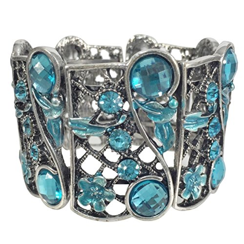 Aqua Blue Gem - Aqua Blue Gem and Rhinestone Wide Silver Tone Statement Cuff Bangle Bracelet