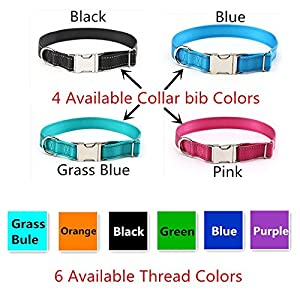 Custom Embroidered Nylon Dog Collar,Reflective Safety Tough Personalized Name ID Collar with Stainless Steel Metal Buckle