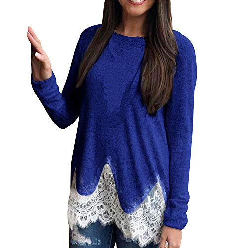 Womens Winter Long Sleeve Solid Lace Shirts Tunic Casual Blouse Tops ()