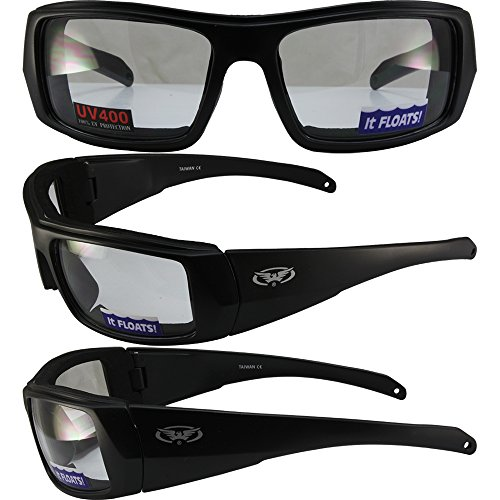Global Vision Wildfire 4 Padded Motorcycle Sunglasses Matte Black Frames with Clear Lenses THEY FLOAT!!!