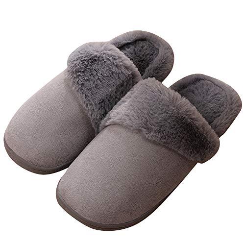 1bbf77bc26d de antideslizante piel zapatillas casa para cálido gris de para piel  imitación hombre unisex zapatos de ...