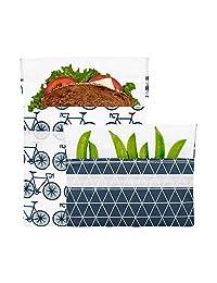 Lunchskins - Juego de 2 bolsas de velcro reutilizables, Paquete de 2, Charcoal Bicycle, 1