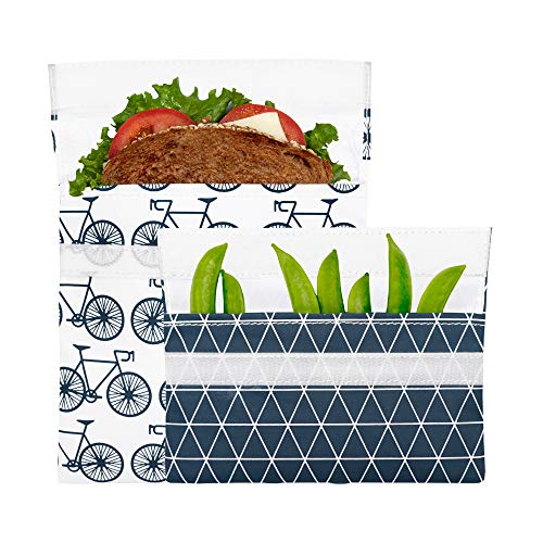 Lunchskins MP-BICYCLE-CHAR Reusable 2-Pack Set Food, Storage Bags, 1 Sandwich + 1 Snack, Charcoal ()