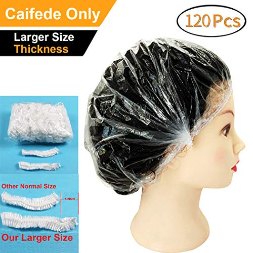 ?Shower Caps Disposable Clear, Large Thick Elastic Plastic 120 Packed 17.5in Waterproof Bulk Universal Bath Cap for Women Spa, Home Use, Hotel and Hair Salon, Perfect Portable Travel Gift