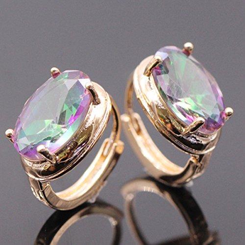 Women Fashion Jewelry Crystal Multi Zircon 10K Gold & White Plated Hoop Earring Gift (18k Gold Plated) (White Gold Zircon Earrings)