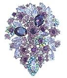 "Sindary 4.13"" Silver-tone Purple Rhinestone Crystal Flower Hair Comb Wedding Headpiece"