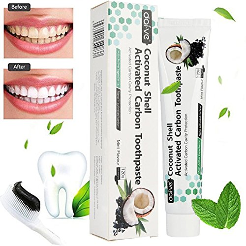 Price comparison product image Activated Charcoal Teeth Whitening Toothpaste, FirstFly Natural Coconut Tooth Whitener Product Black Bamboo Tooth Paste, Remove Stain & Bad Breath (Black-4.02oz)