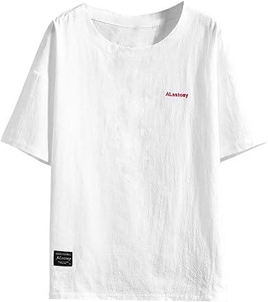 TUDUZ Camisetas Hombre Manga Corta Camisa de Lino y Algodón ...