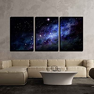 Alluring Portrait, Imaginary Background of Deep Space and Star Field x3 Panels, Original Creation