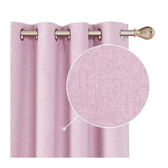 Deconovo Faux Linen 100 Blackout Curtains Grommet Thermal Insulated Noise Reducing Room Darkening Draperies for Children' Room 52x84 Inch Set of 2 Panels Pink - Deconovo faux linen blackout curtains are made of 100 percent high quality polyester. Imported, Constructed with 3 layers, our heavy blackout curtains have a faux linen look, are smooth and pleasant to touch. These total blackout curtain can completely block the light from getting you're your room. Once closed, these curtain panels will protect your privacy as they are not see-through and are also noise reducing. Our thermal insulated curtains are energy efficient, fashioned to help in reducing the amount of heat that gets into your room in summer and or goes out of the room through the windows in winter. - living-room-soft-furnishings, living-room, draperies-curtains-shades - 51lANnIOknL. SS570  -