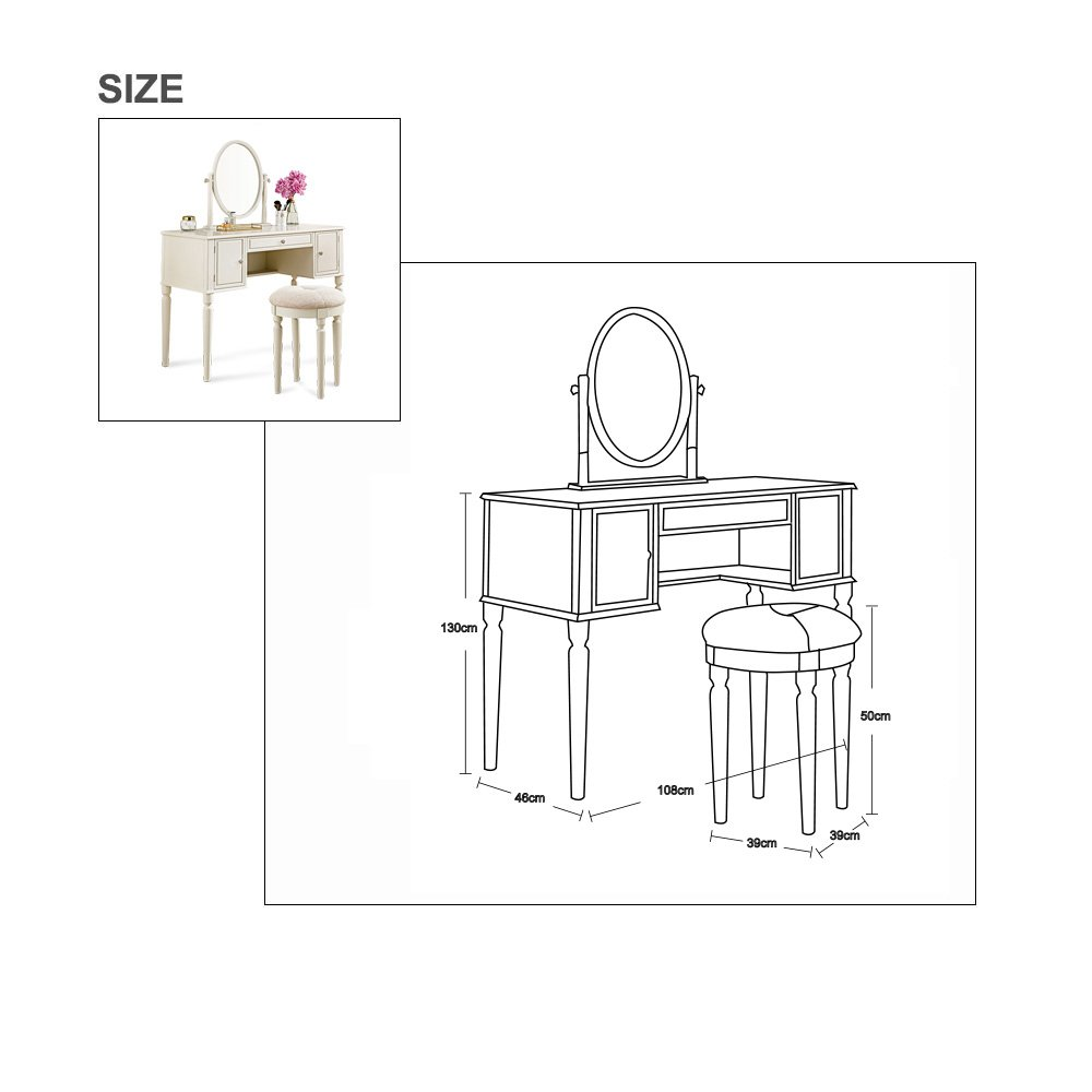 SEESUU Vanity Table Set with Mirror 3 Drawers Makeup Dressing Table with Cushioned Stool (Ivory)