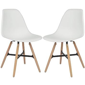 Retro Kunststoff Esszimmerstühle Lounge Holzbeinen Bürostuhl Stühle Set 1 2 4