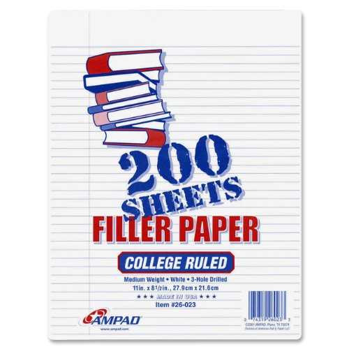 Ampad Filler Paper, Size 11 x 8 1/2 Inches, White Paper, College Ruled With Margin Line, 200 Sheets Per Pack (26-023)