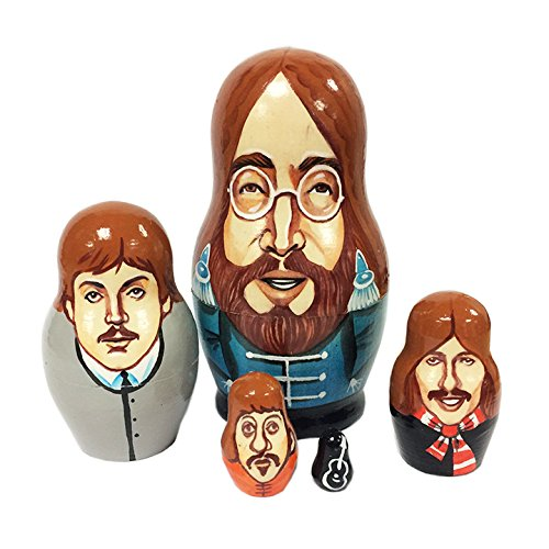 The Beatles Wooden Handmade Russian Nesting Doll Matryoshka 5 pcs, height 3.5 inches, 9 - Lennon Glasses John Collection