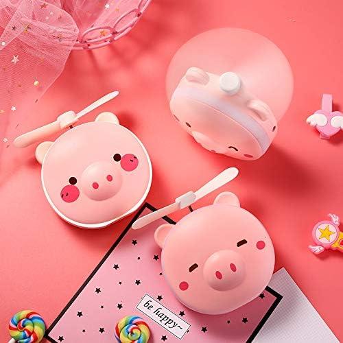 SSEDEW Cartoon Pig Lightweight Portable Office Summer LED Light USB Fan Handheld Rechargeable Cooling Makeup Mirror Blink Eyes 006